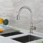 Decor Star TPC11-TB Contemporary 16″ Pull Down Spray Kitchen Sink Faucet cUPC NSF AB 1953 Lead Free Brushed Nickel