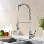 GICASA Soft Commercial Style Single Handle Stainless Steel Pre-Rinse Pull Down Kitchen Faucets, Brushed Nickel Pull Out Sink Faucet with Sprayer