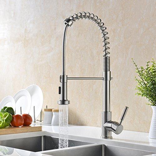 GICASA Soft Commercial Style Single Handle Stainless Steel Pre Rinse Pull  Down Kitchen Faucets, Brushed Nickel Pull Out Sink Faucet With Sprayer