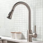 SHACO Modern Brushed Nickel Stainless Steel Sprayer Single Lever Single Handle Pull Out Sprayer Kitchen Sink Faucet,Pull Down Sprayer Faucet