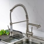 Fapully 100333N Contemporary Spring Single Handle Kitchen Sink Faucet with Pull Down Sprayer, Brushed Nickel