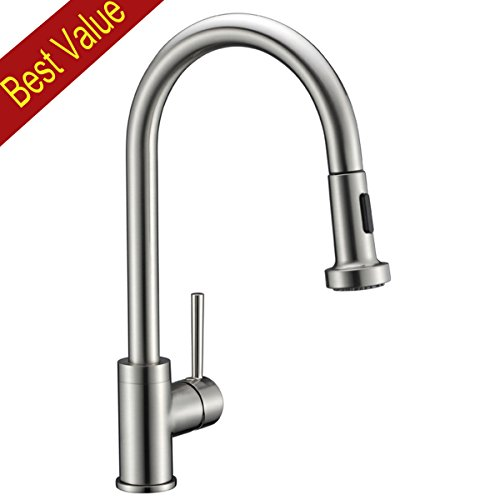 Avola Solid Brass Sink Kitchen Faucet, Brushed Nickel, 1 Lever Handle Pull Down Spout Mixer Tap, Stainless Steel Brushed Brass Kitchen Sink Faucets